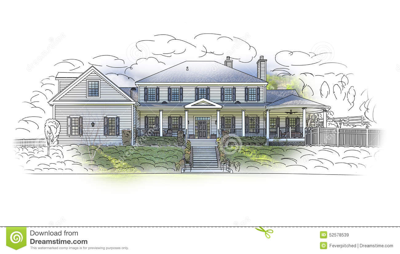 House Drawing and Ghosted Photo Combination on White