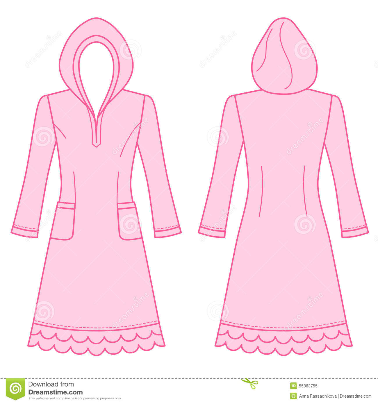 House dress, nightdress stock vector. Illustration of coloring ...