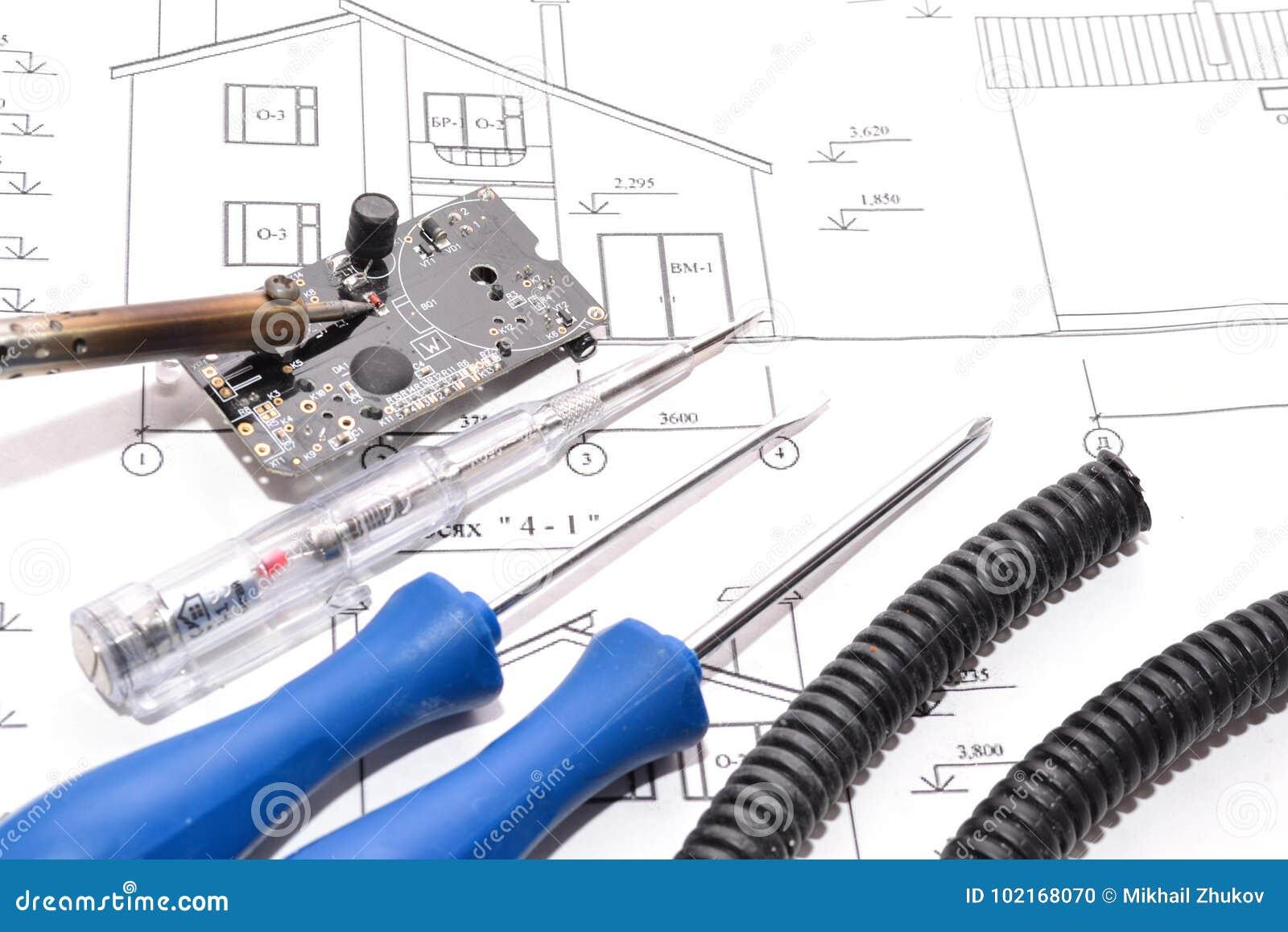 House Planelectrical Connection Stock Photo Image Of Design Plan B Electrical Elecrofication Planbig Work