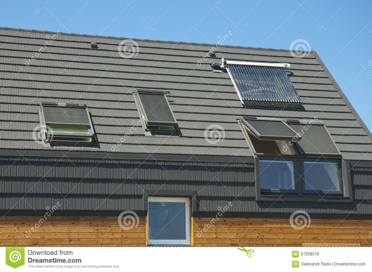 House Energy Efficiency Solution Concept Outdoor. Modern Roofing