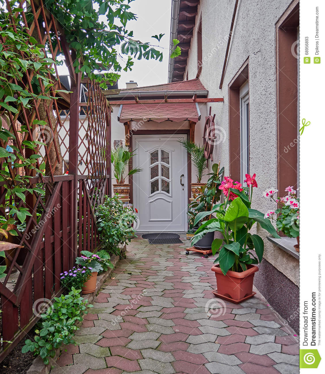 House Entrance With Flowers And Plants Stock Image Image