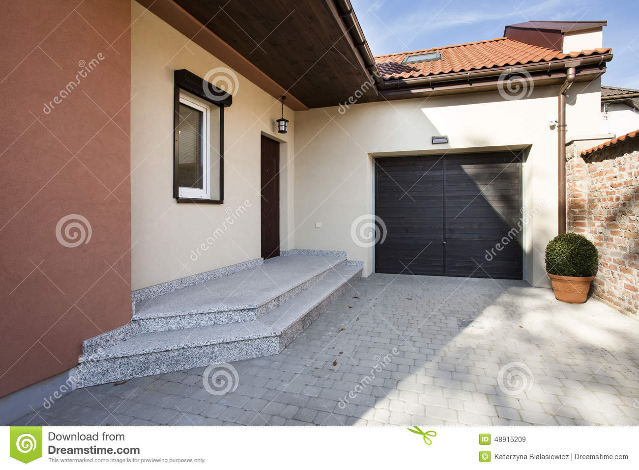 House entrance and garage stock photo image 48915209 for Entrance from garage to house