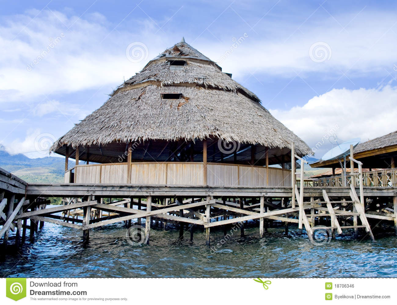 The house established on piles lake sentani royalty free House piles