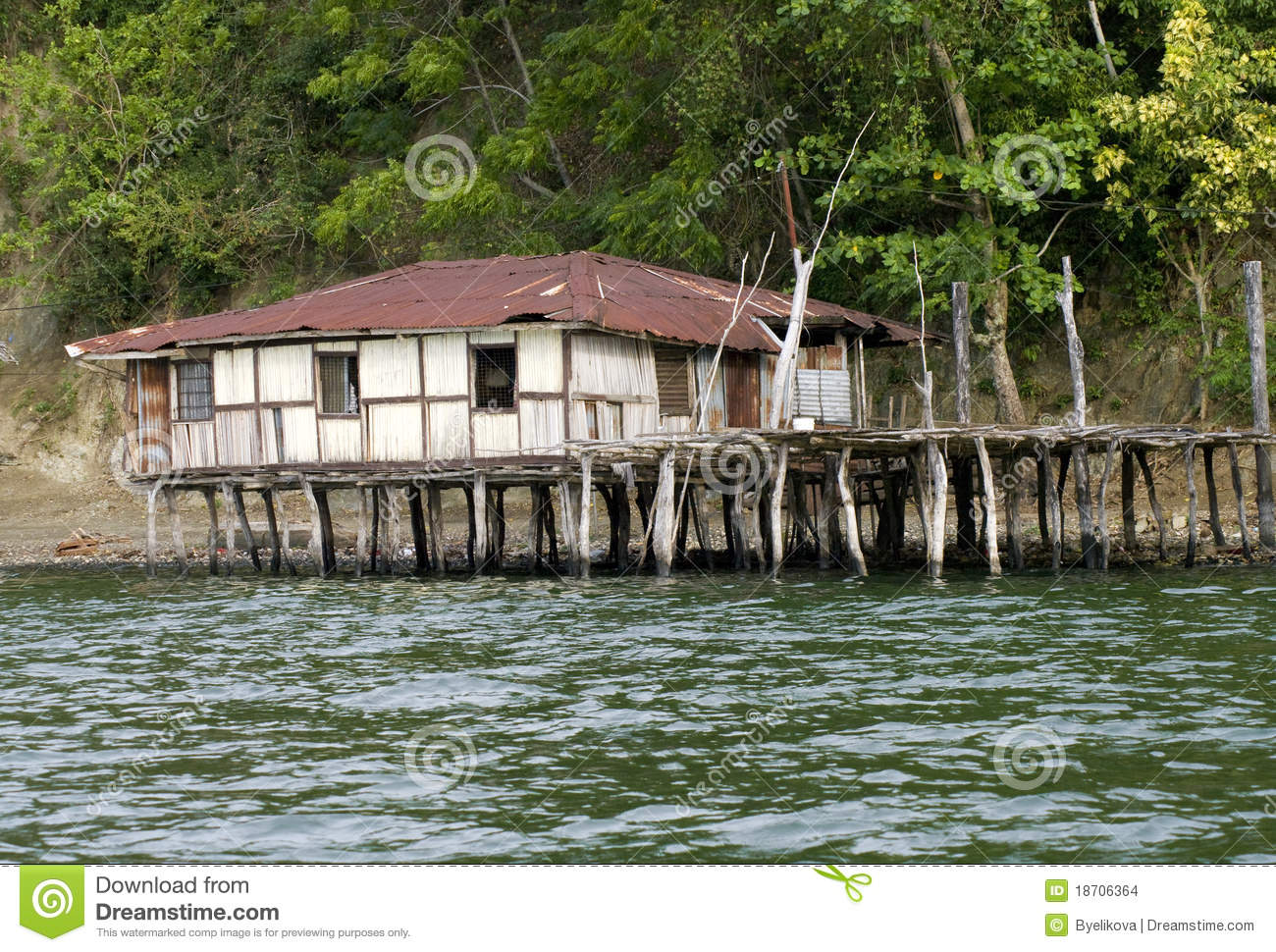 The House Established On Piles New Guinea Stock Images