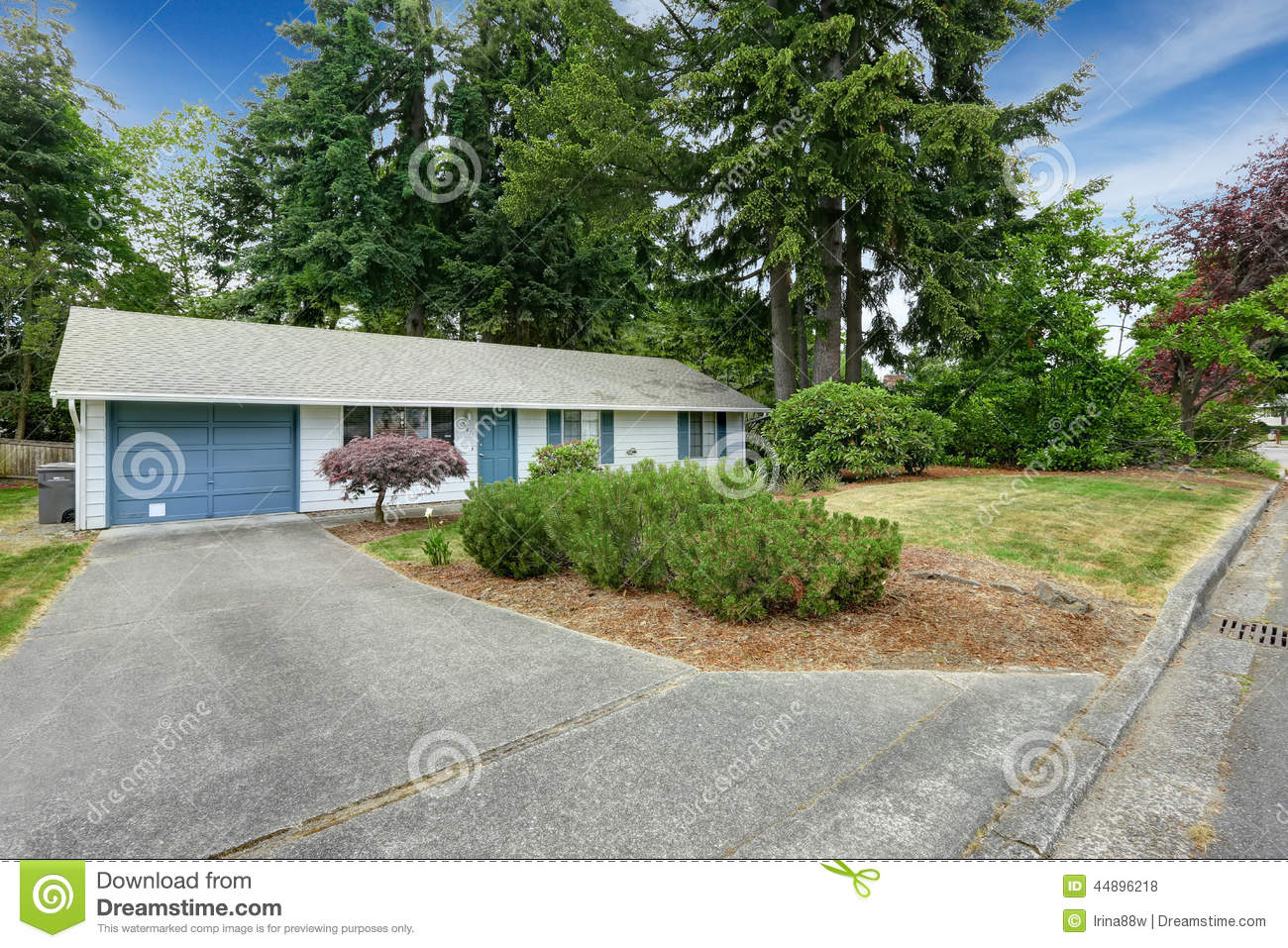 House exterior with blue trim garage with driveway stock for Entrance from garage to house