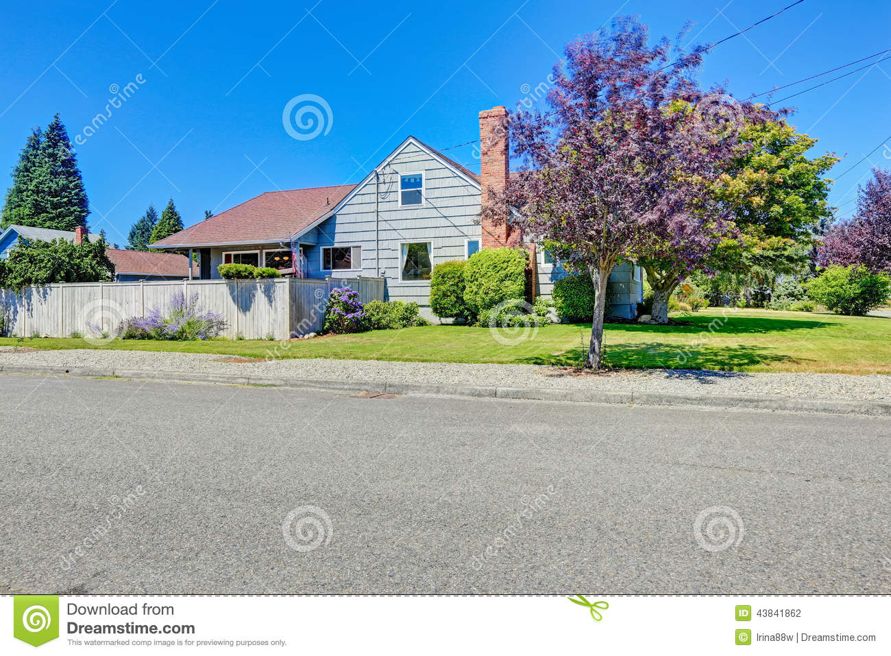 House exterior with brick chimney front yard view stock for Simple house front view