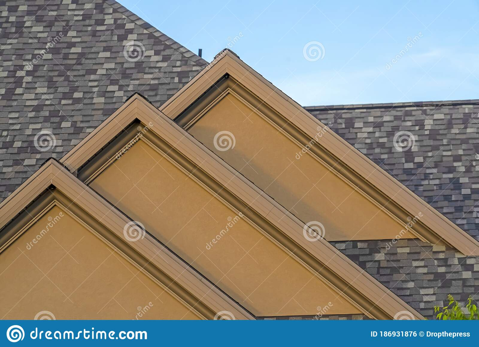 House Exterior With Front Gable Roof Design Against Blue Sky Background Stock Photo Image Of Outdoors Residence 186931876