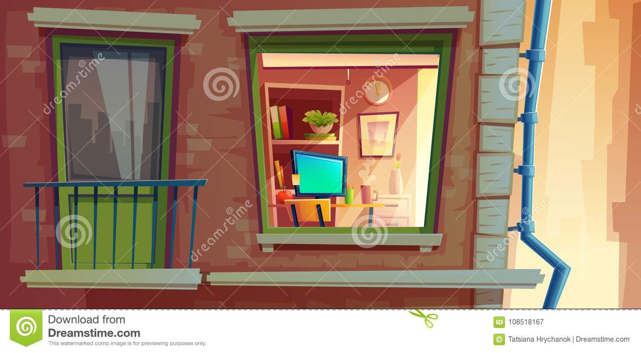 House facade element vector cartoon illustration of apartments outside view window and balcony