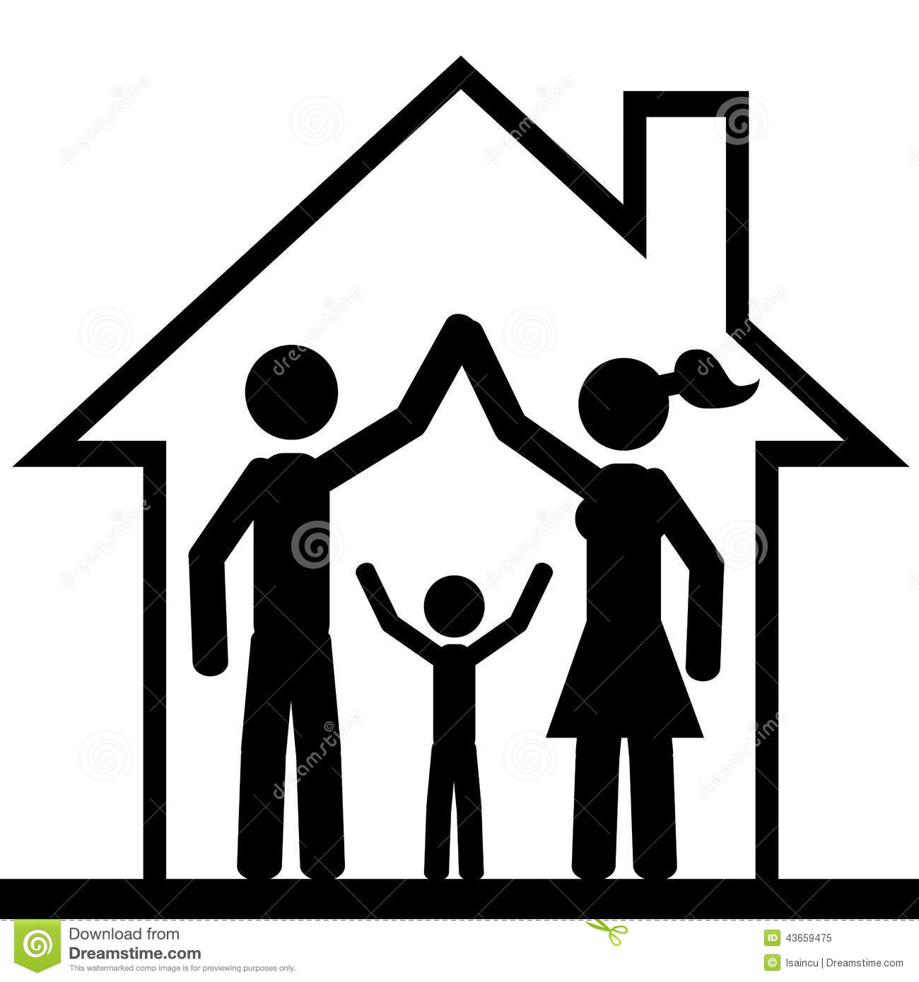 Family inside the house. It is a stick figure vector. EPS10.