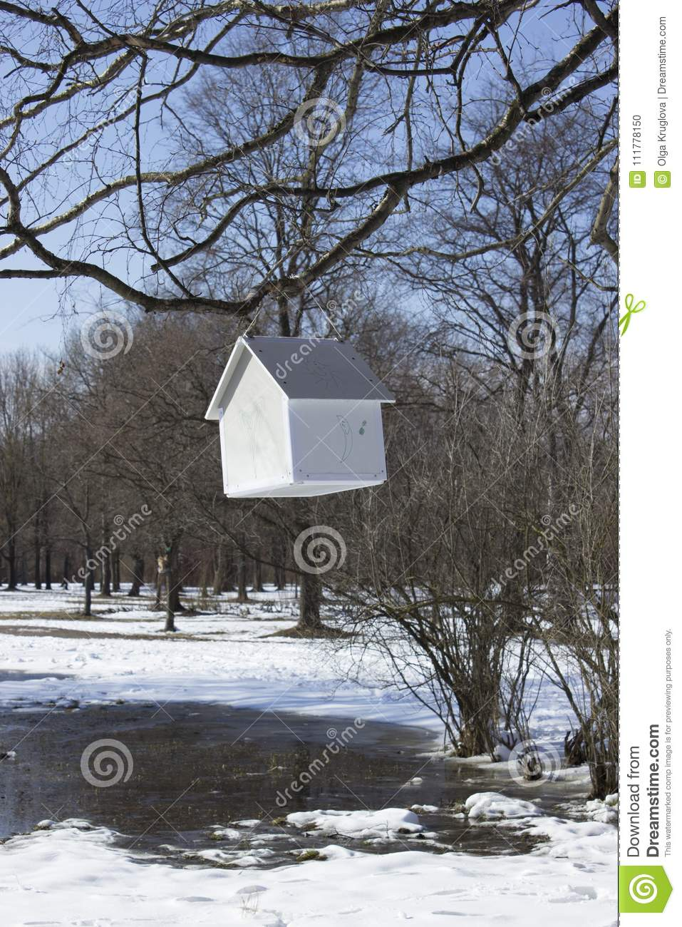 House-feeder hanging from a tree