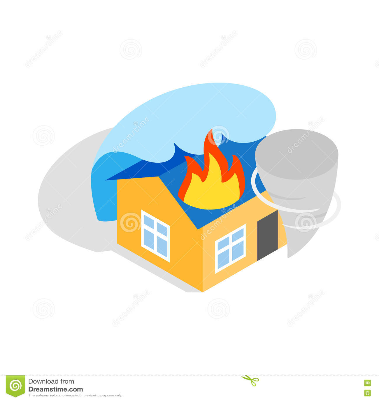 House On Fire Isometric 3d Icon Cartoon Vector