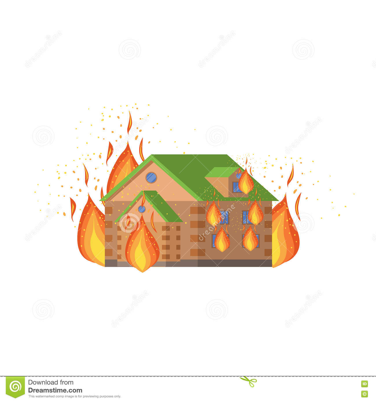House On Fire Natural Forces Threat Stock Vector Illustration Of