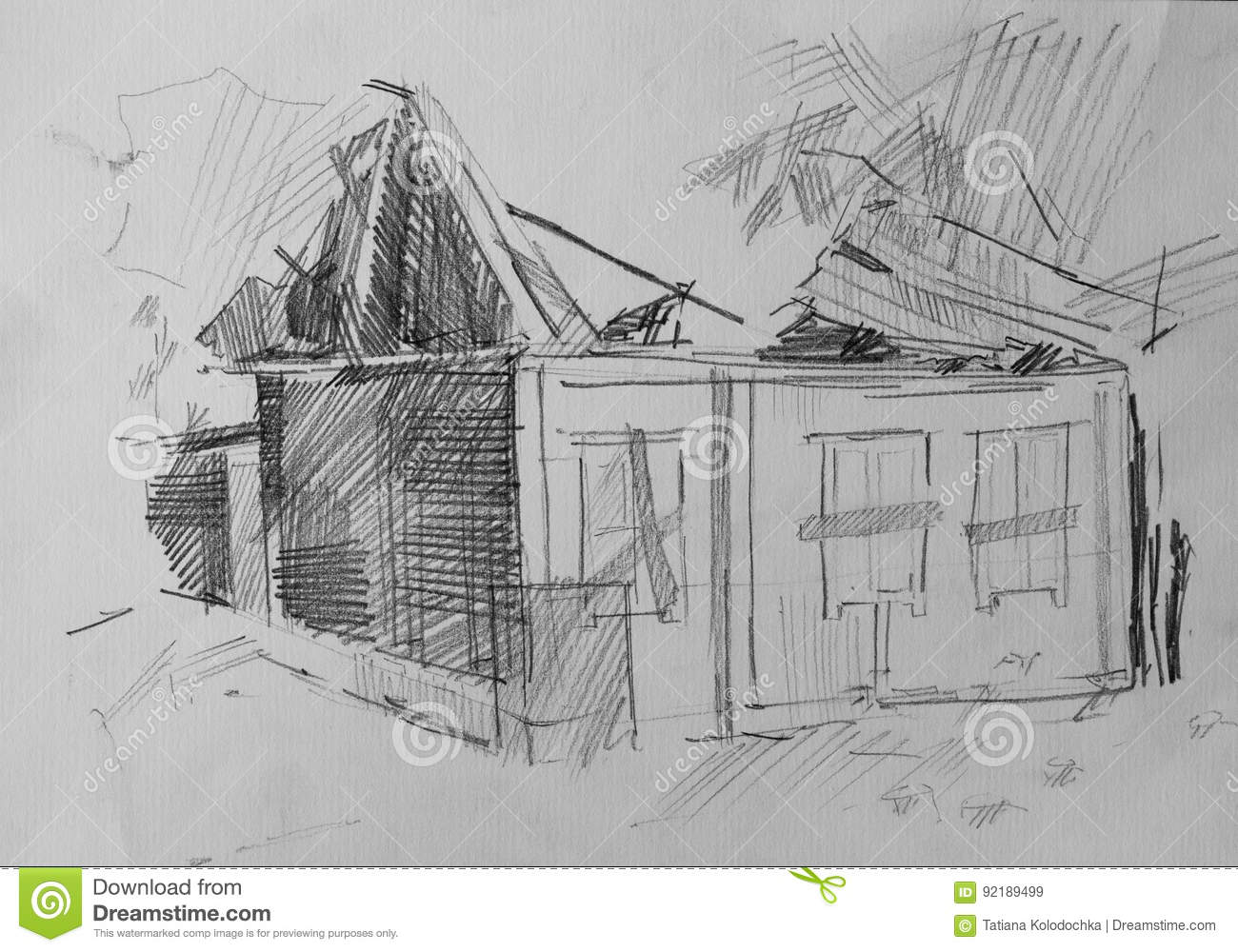 House after the fire pencil drawing for your design