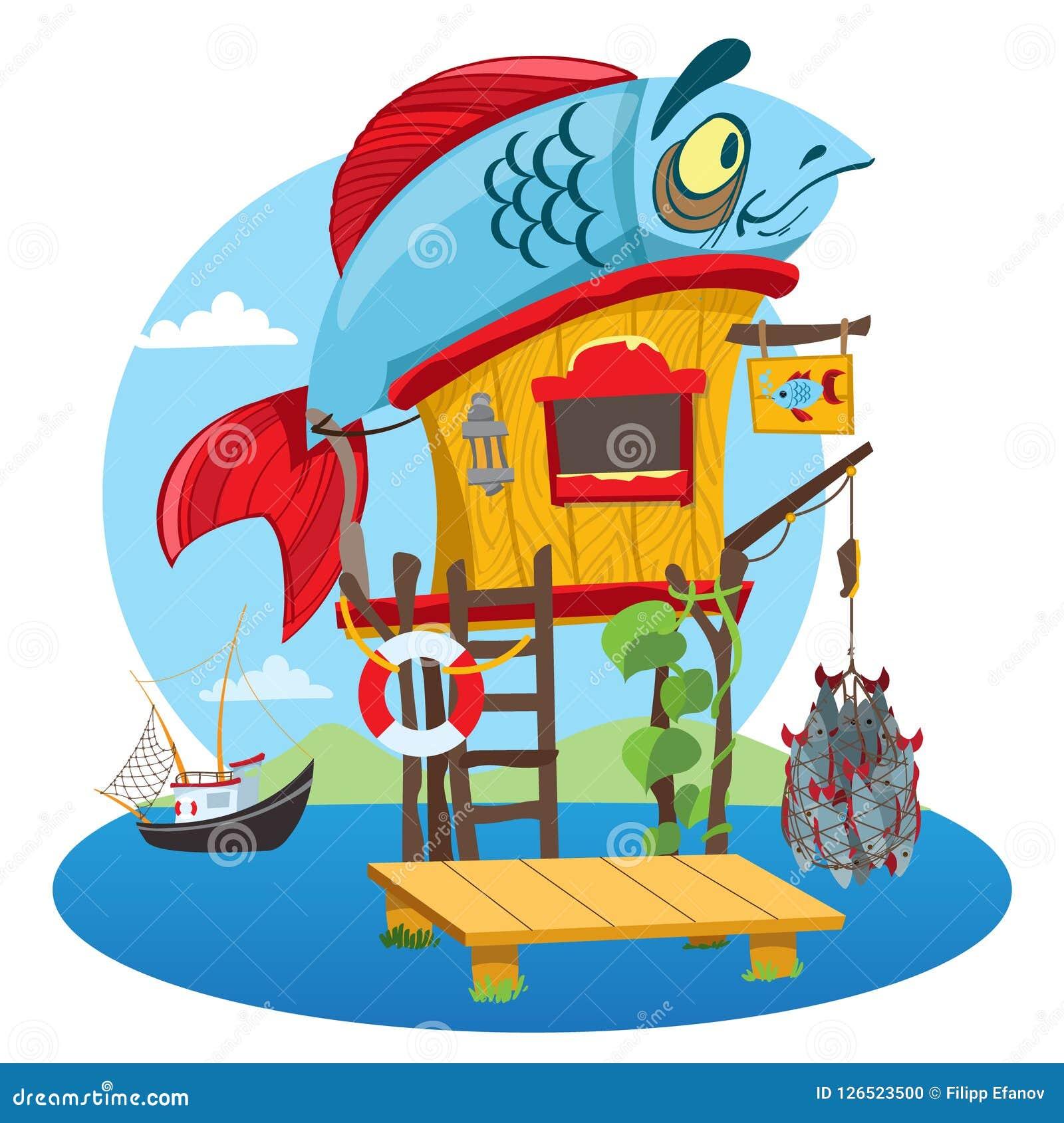 house fisherman cartoon illustration of a wooden hut on stilts near rh dreamstime com