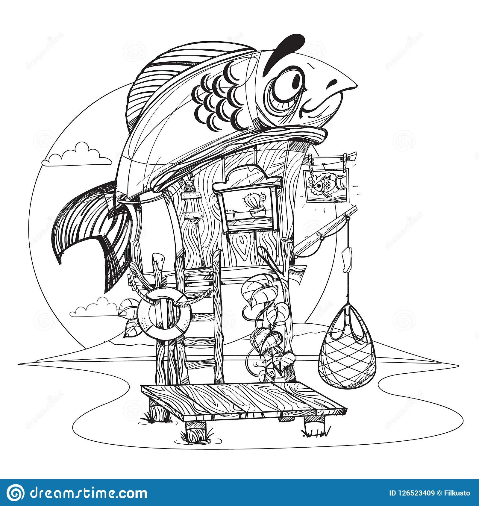 house fisherman cartoon illustration of a wooden hut on stilts nearhouse fisherman cartoon illustration of a wooden hut on stilts near the river drawing for gaming mobile applications illustration for coloring