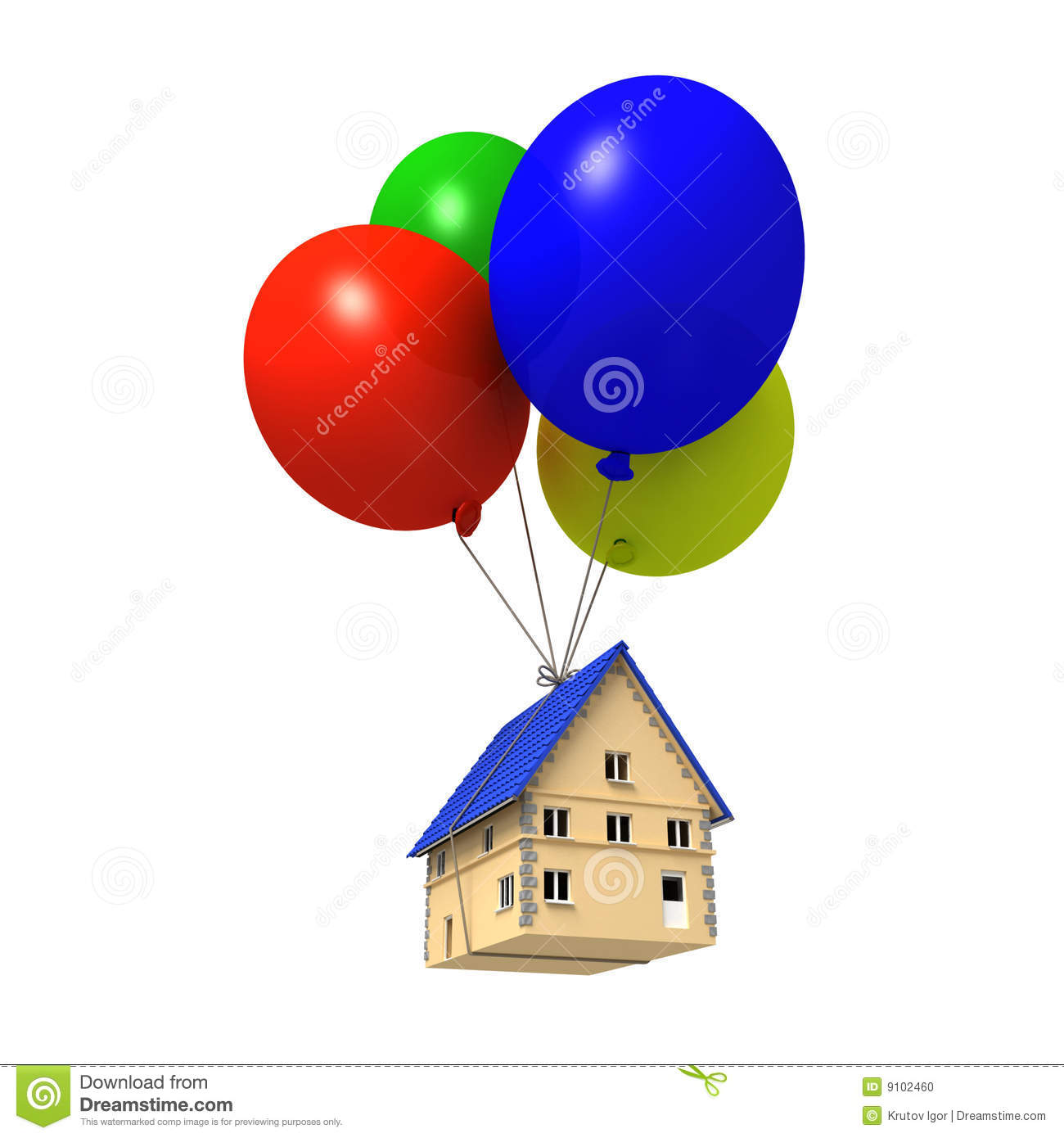 House floating with balloons stock photo image 9102460 for Housse ballon yoga