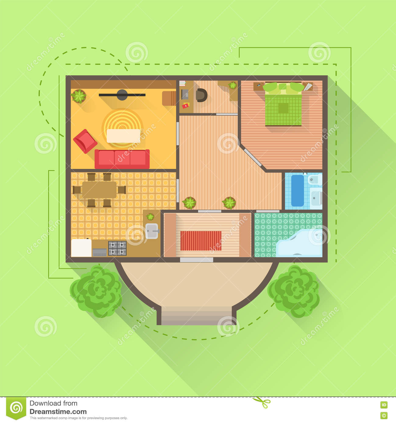 House floor interior design project view from above stock for Above ground house plans