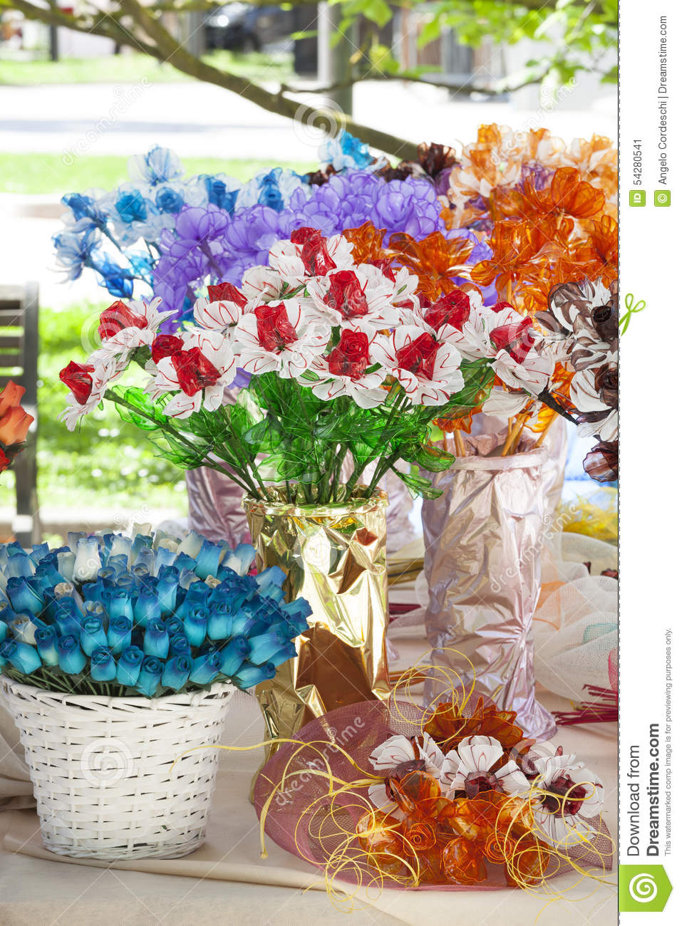 Items To Decorate Living Room: House Flower Decorations In Vases. Flowers Stock Photo