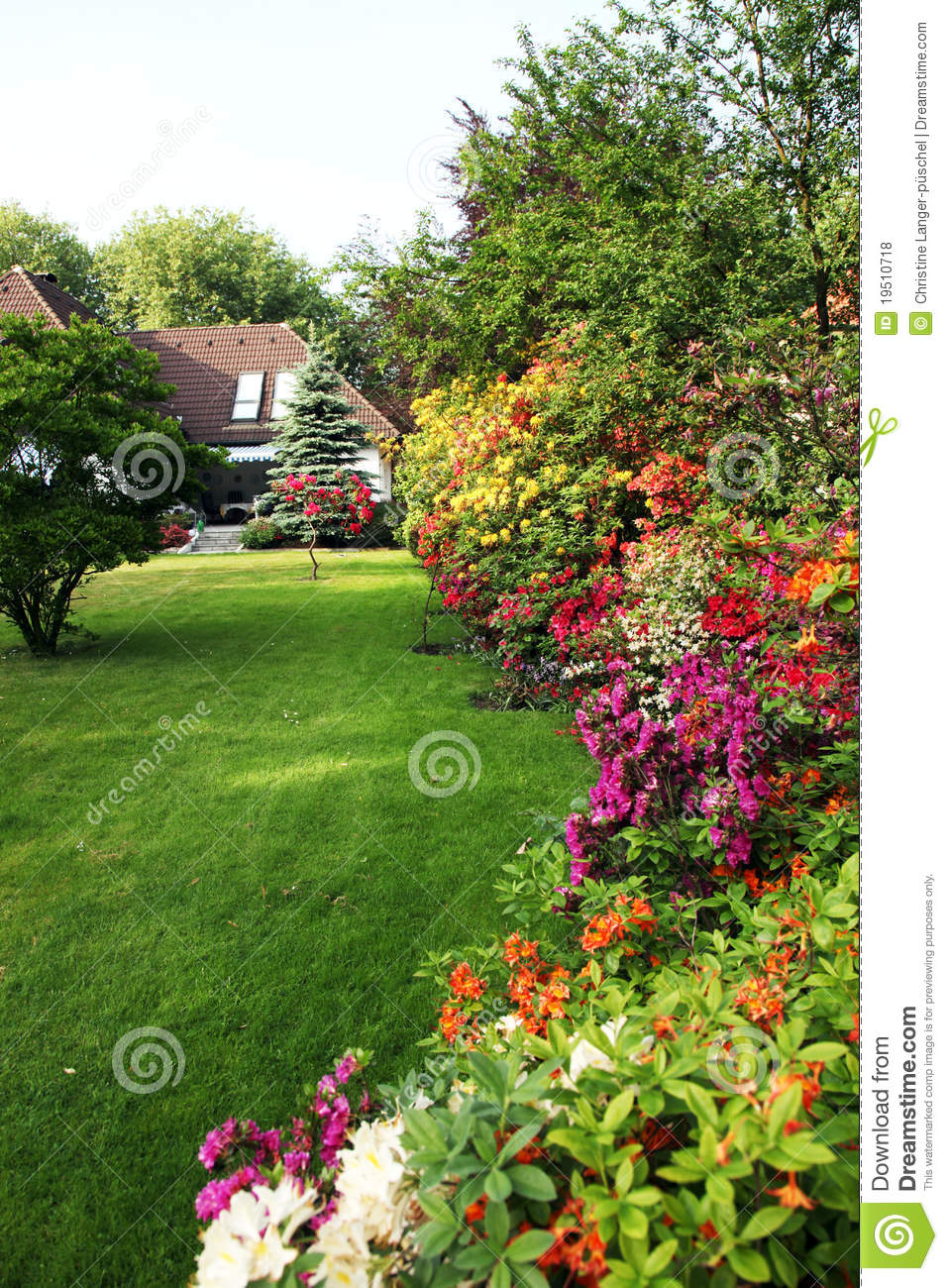 House with flower garden stock photo image of meadow for Classic house with flower garden