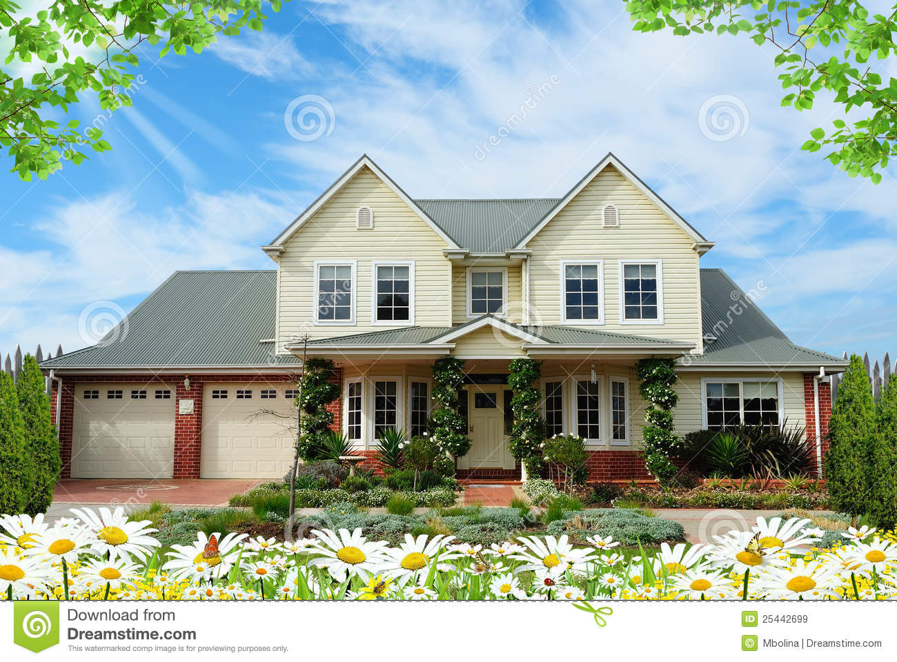 house with flowers royalty free stock images - image: 25442699