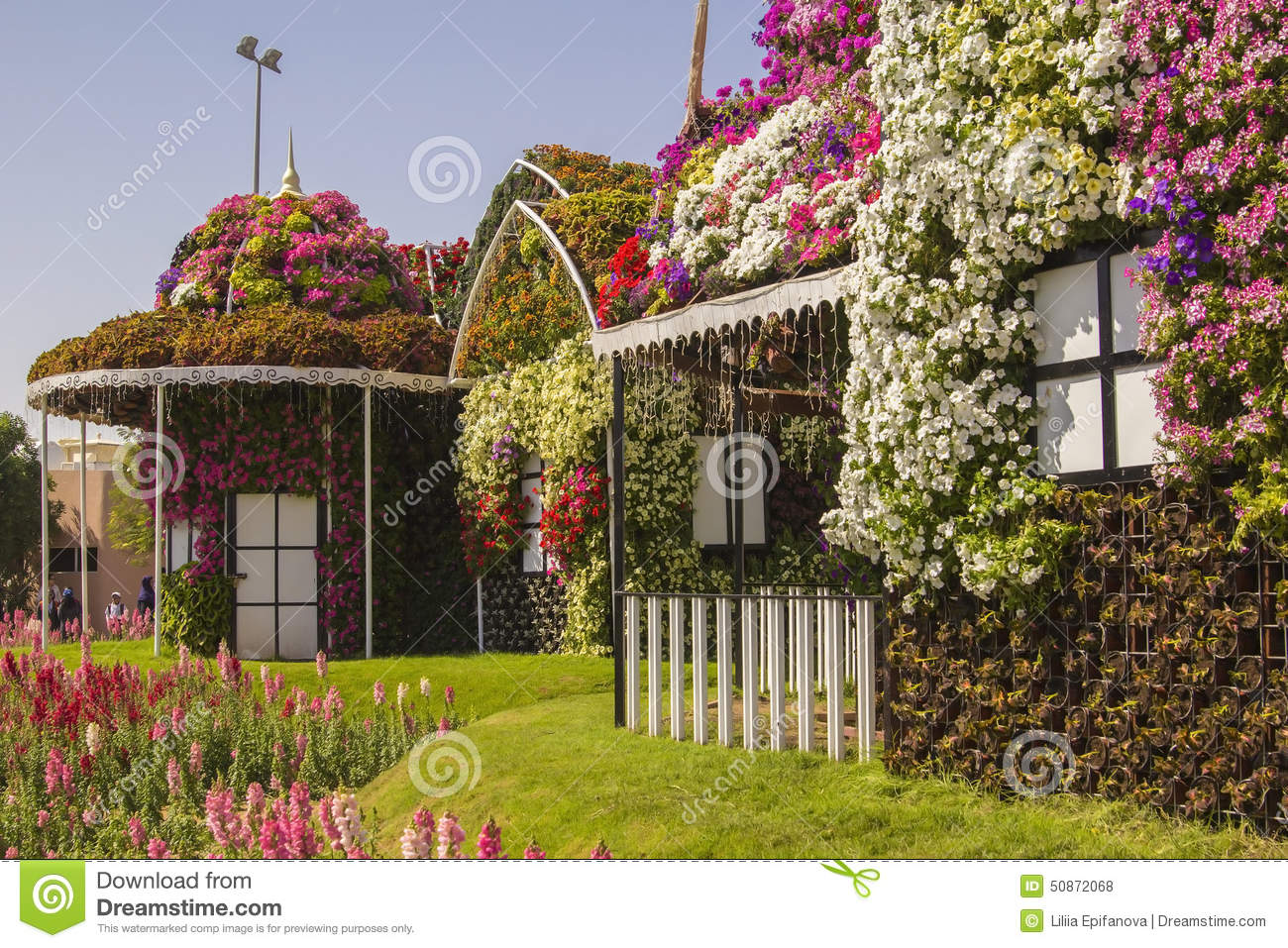 House Flowers In The Flower Village In The Park Editorial Stock Im