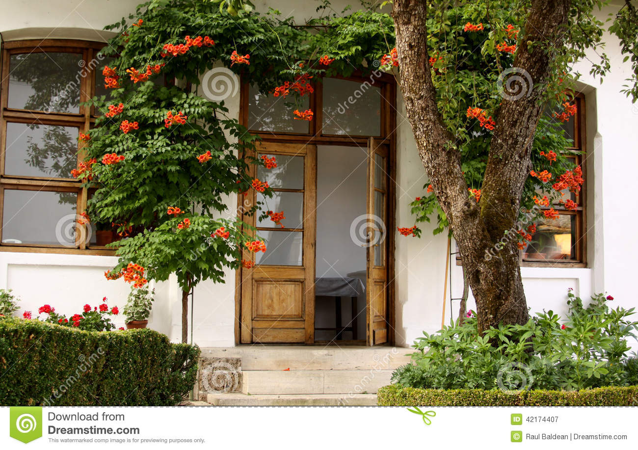 House with flowers in the garden