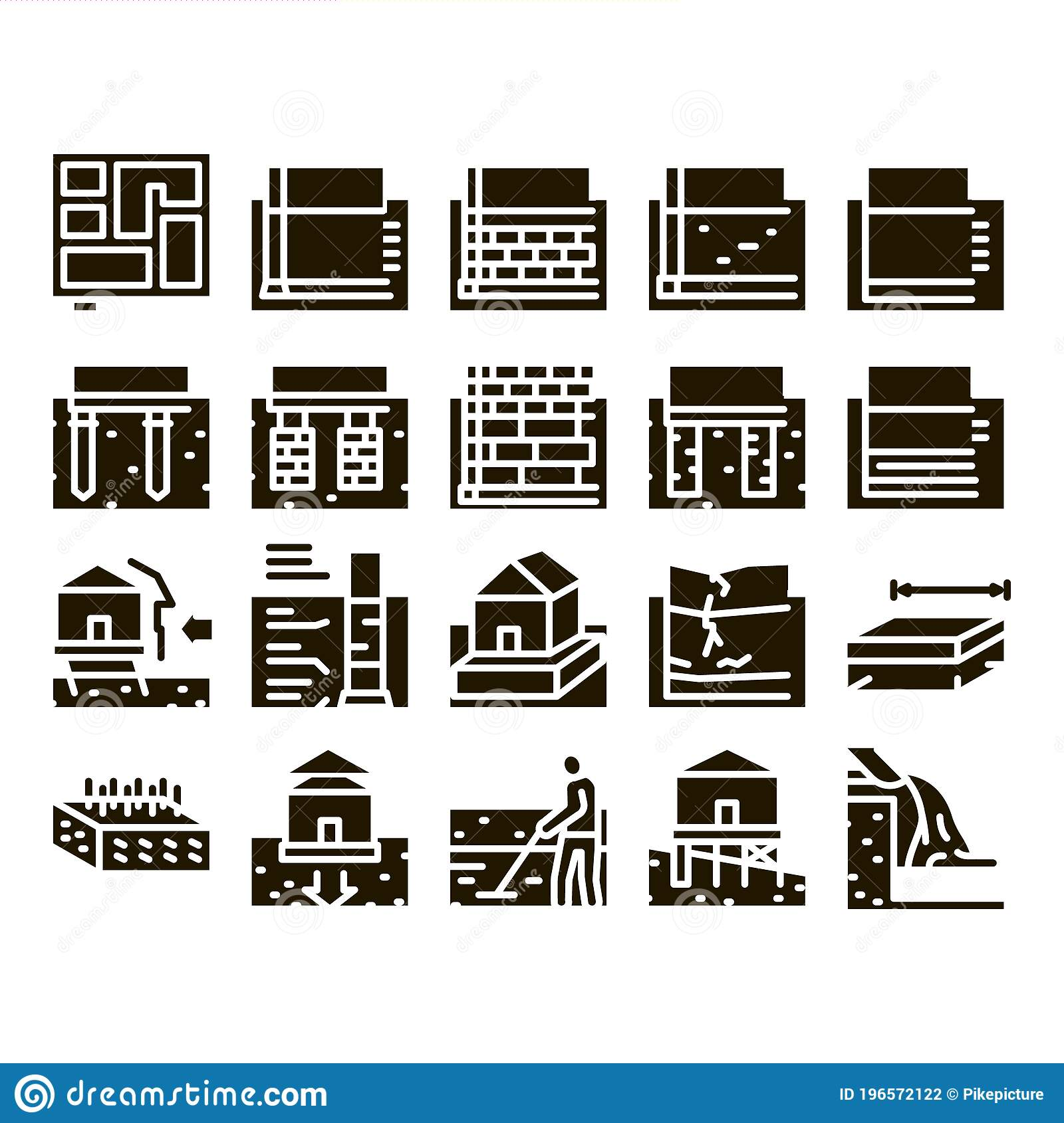 House Foundation Base Glyph Set Vector Stock Vector Illustration Of Floating Foundation 196572122
