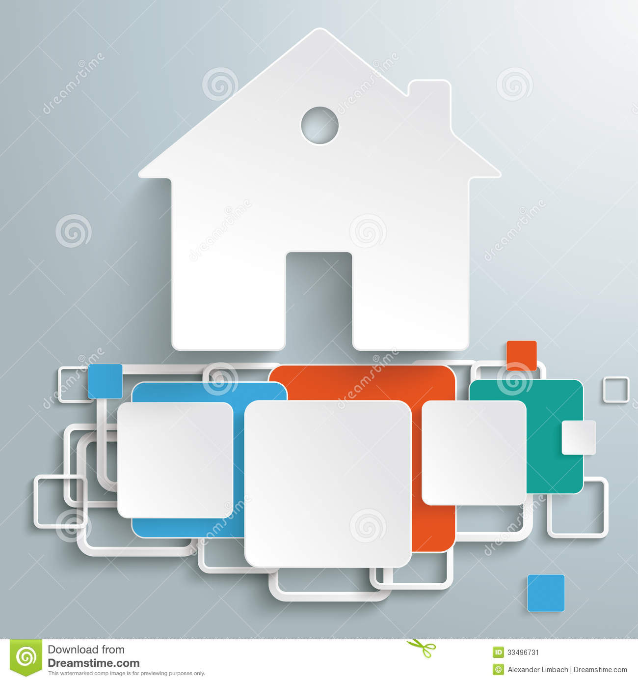 Infographic design on the grey background eps 10 vector file - House Foundation Colored Squares Infographic Piad Stock