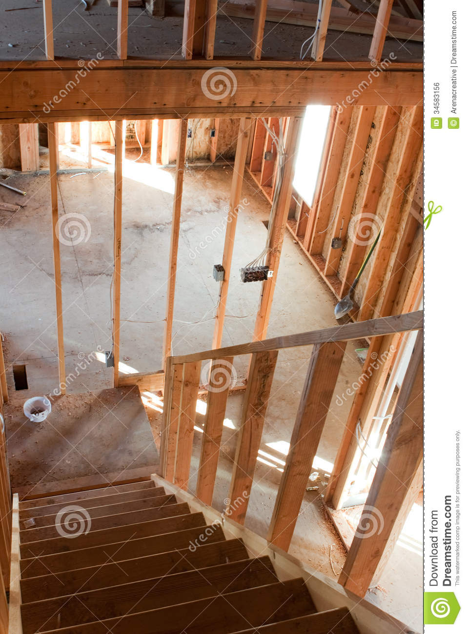 House Framing Interior Framed Building Residential Home Basic Electrical Wiring Hvac Complete on Basic Hvac Wiring