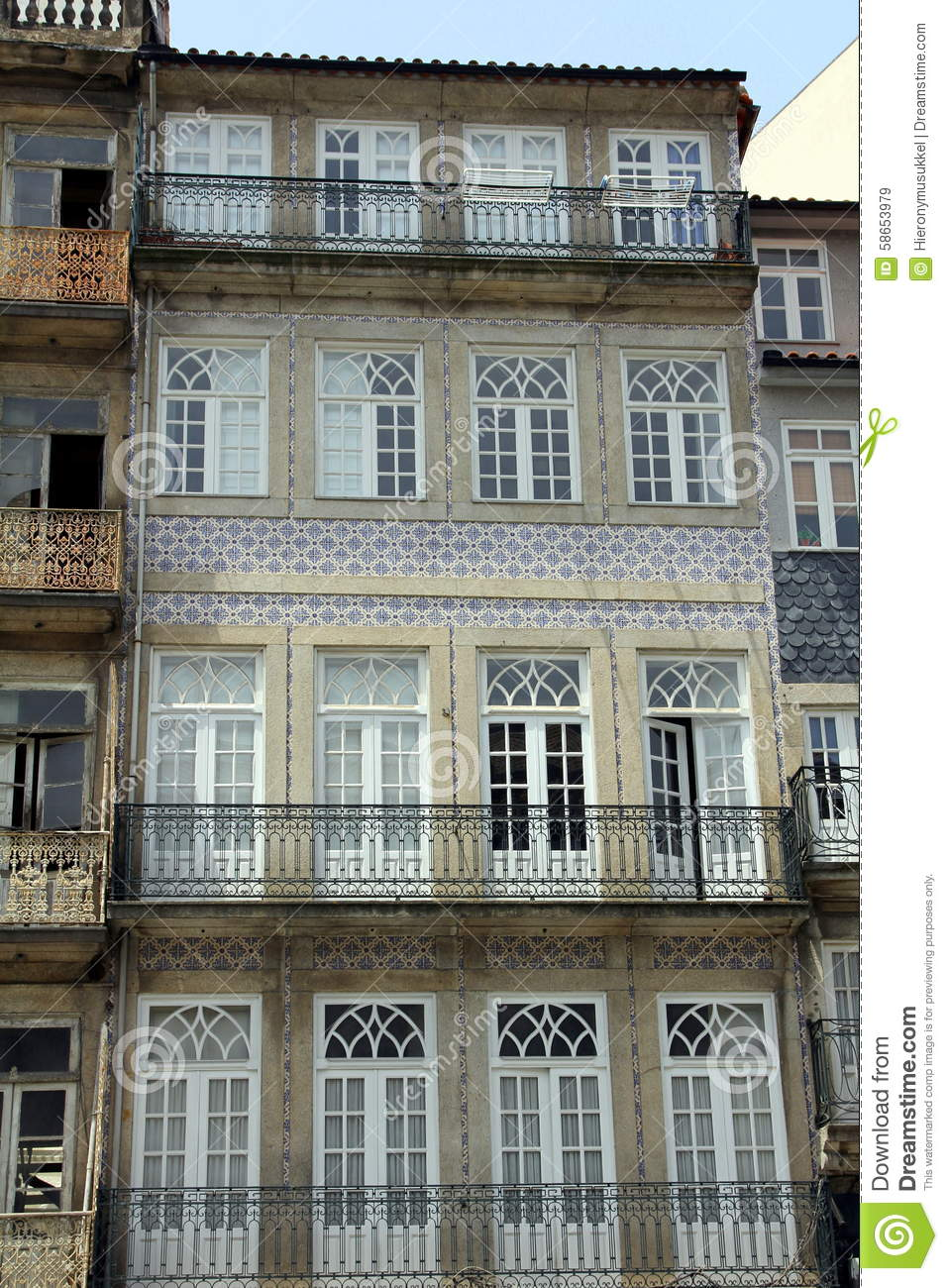 House Front Adorned With Azulejos Wall Tiles Stock Image Image