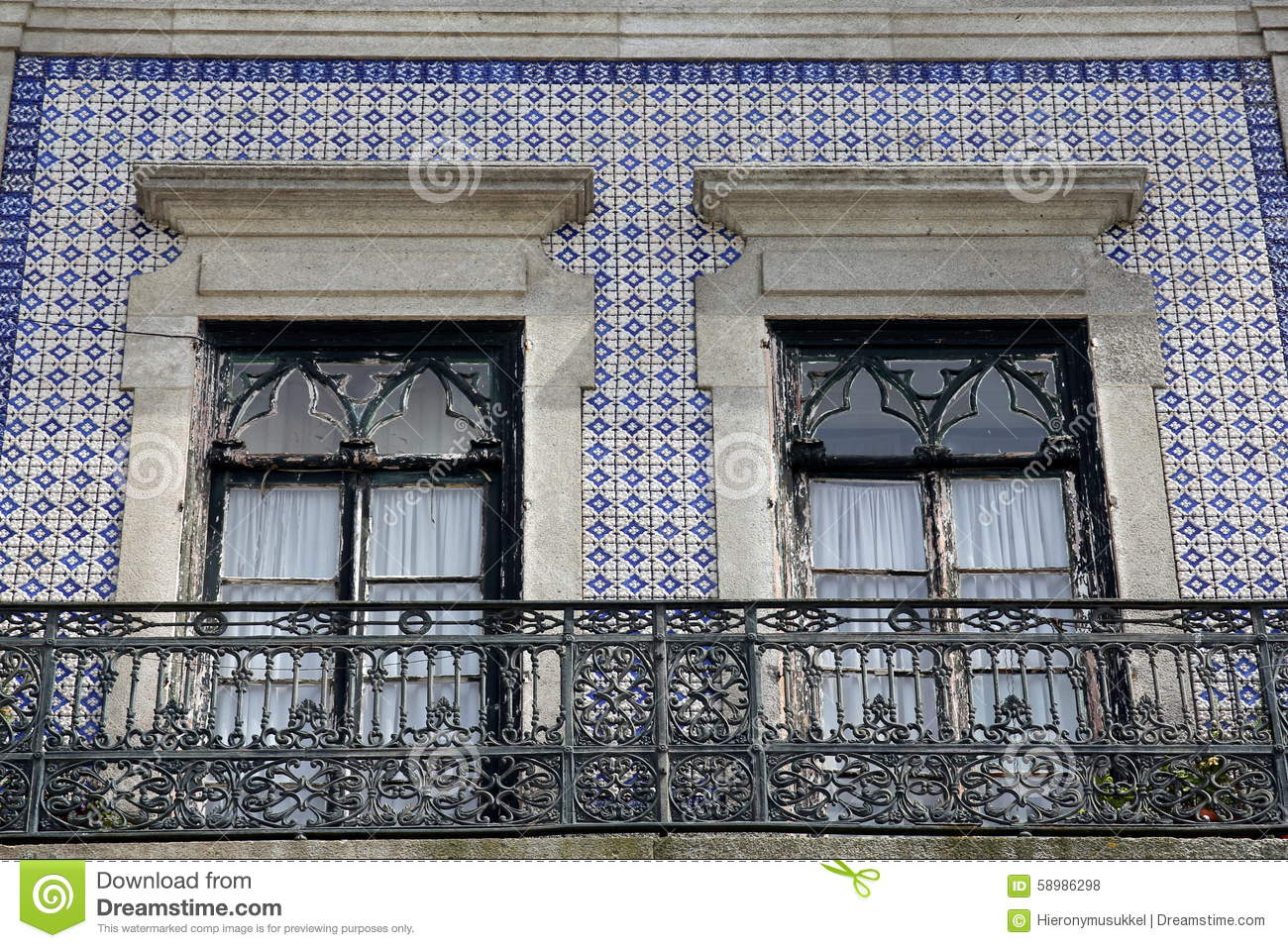 House Front Adorned With Azulejos Wall Tiles Stock Photo