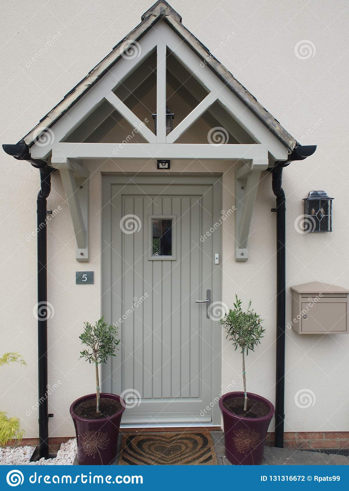 . House Front Door With Porch Stock Photo   Image of house  modern