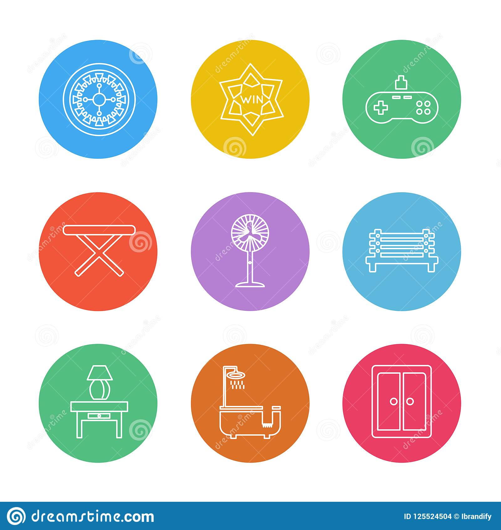 creative furniture icons set flat design. House , Furniture Household Items Home Fan Bed Cupboard  Electronics Desk Chairs Table Icon, Vector, Design, Flat, Collection, Creative Icons Set Flat Design