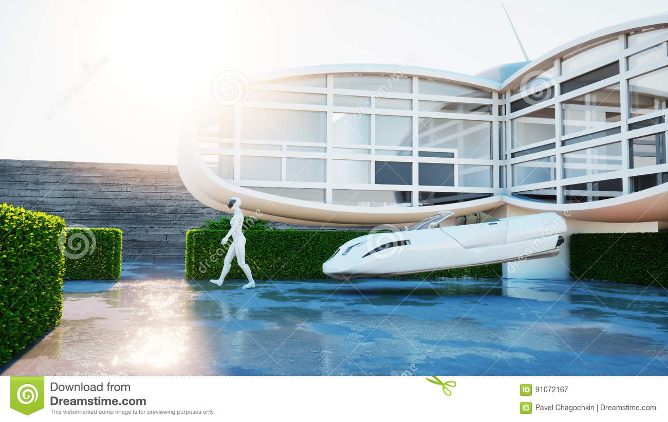 House of future. Futuristic flying car with walking woman. 3d rendering.