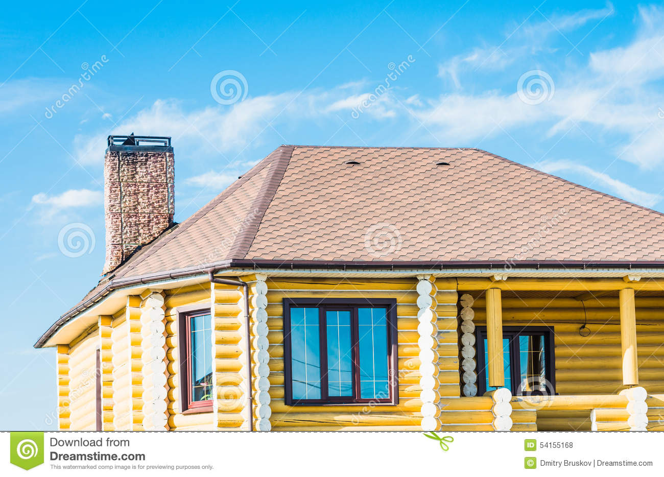 House with a gable roof window stock photo image 54155168 - Houses roof windows ...