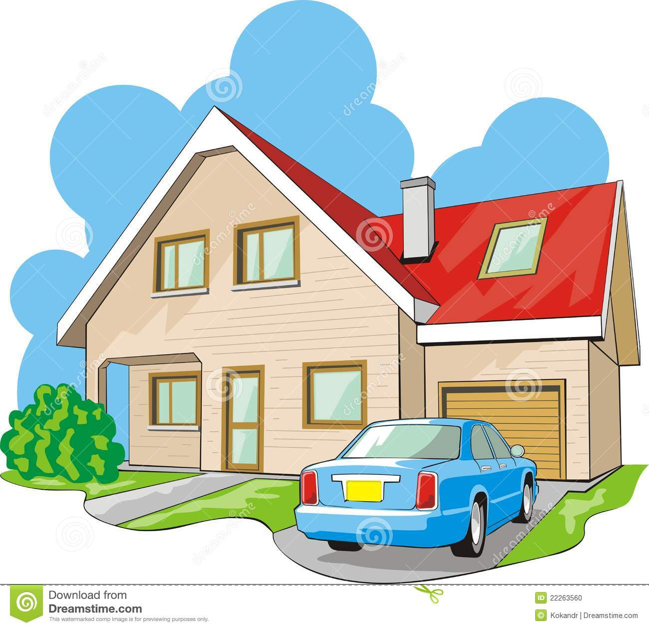 House With Garage Stock Photo Image 22263560