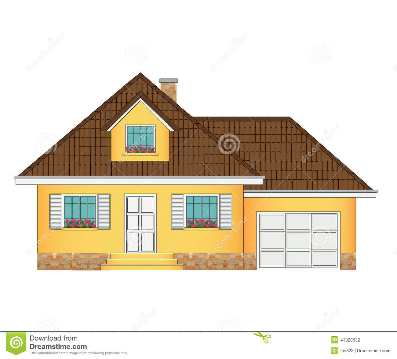 House With Garage Illustration Stock Vector Image 41328632