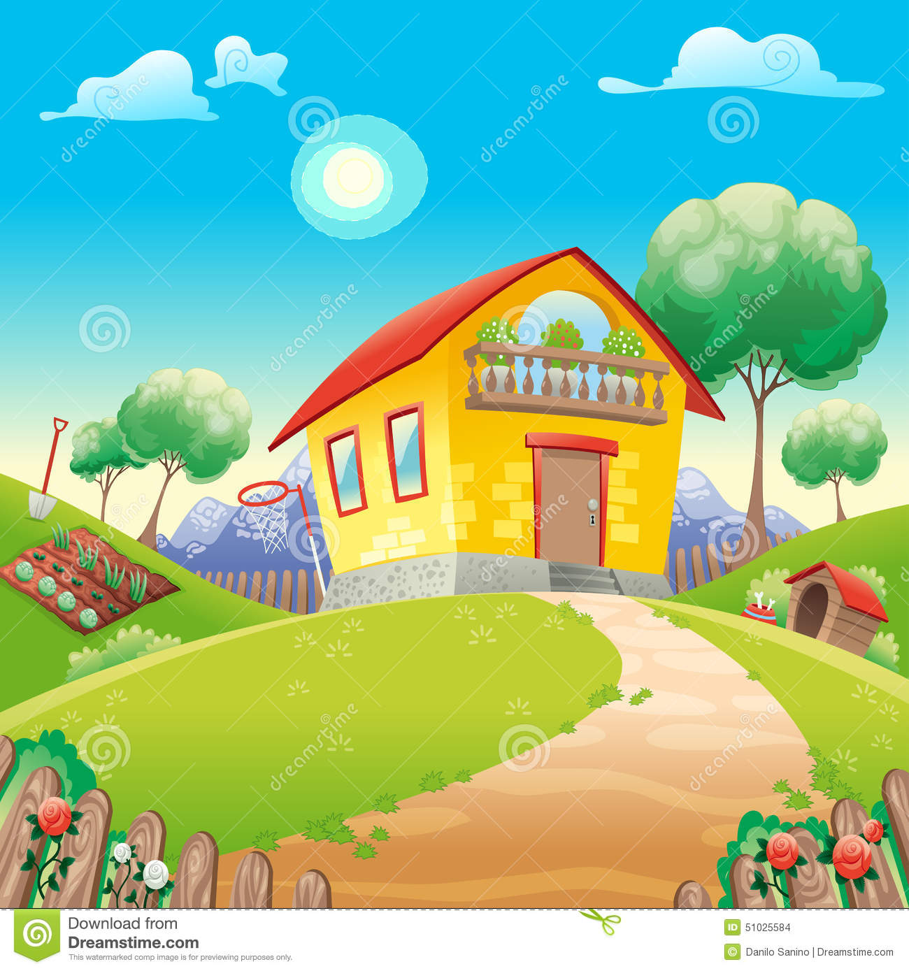 House With Garden Int The Countryside Stock Vector Image