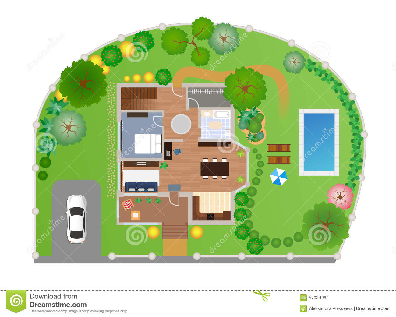 House With Garden Layout Vector Stock Vector Image
