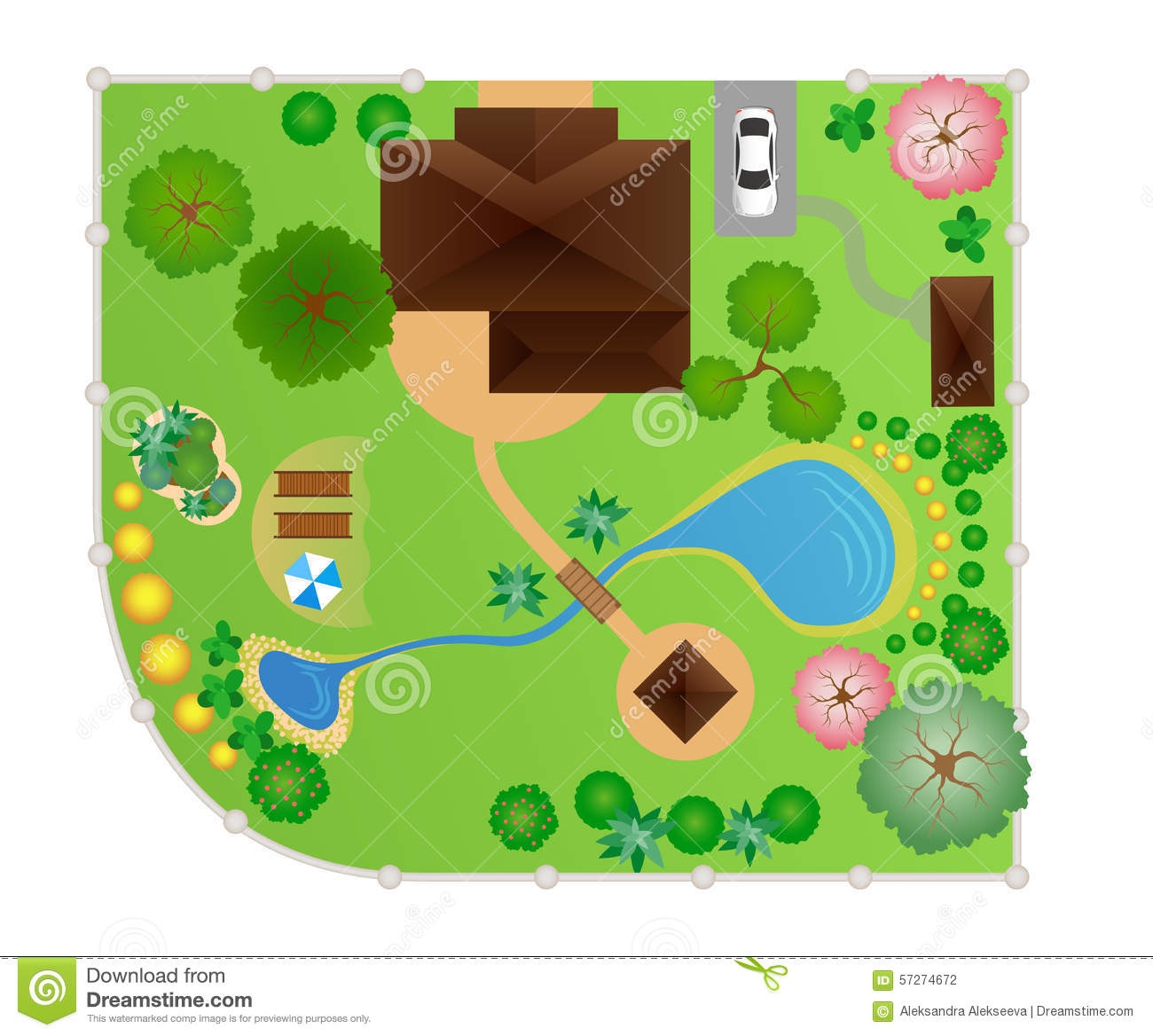 House With Garden Layout, Vector Stock Vector - Image