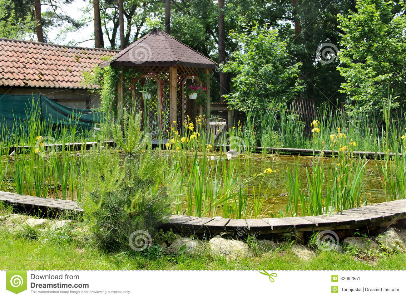 House garden with small pond stock image image of for Small garden house