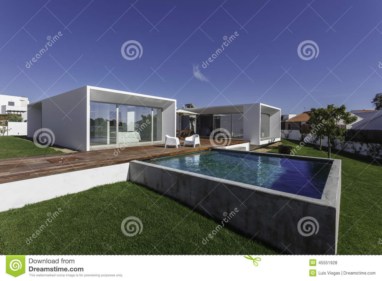 House With Garden Swimming Pool And Wooden Deck Stock