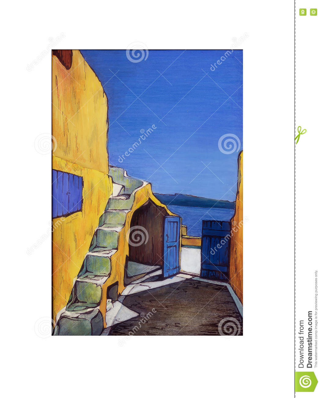 Patio in an old house in greece island in the sea summer painting freehand drawing in color modern painting art yellow blue