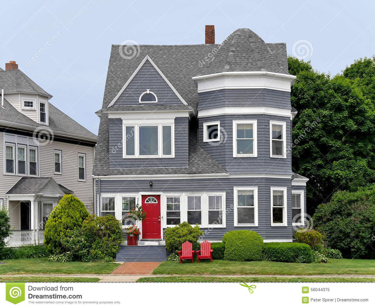 House With Grey Siding Stock Image Of