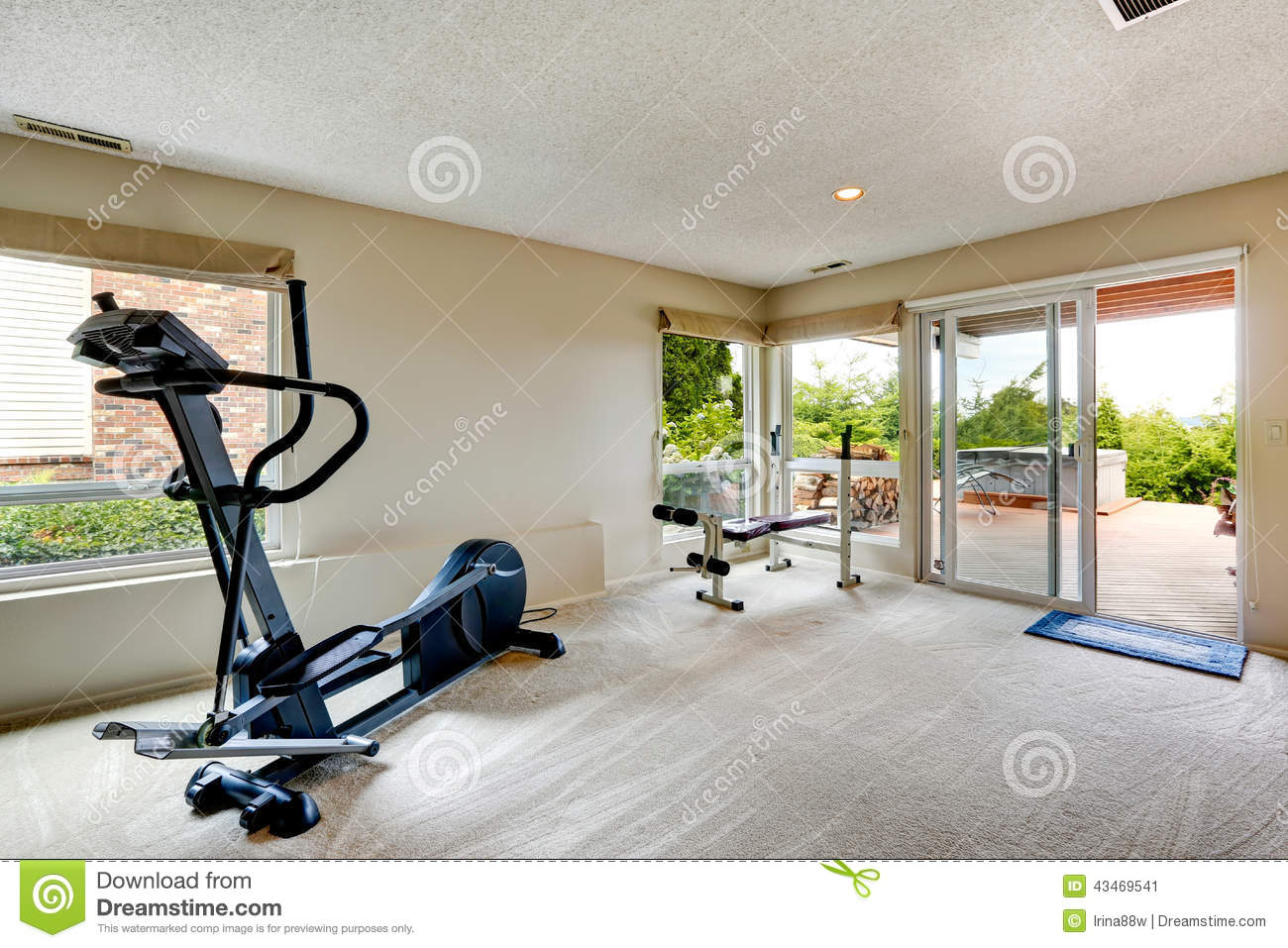 house gym room with exit to backyard stock image image 43469541