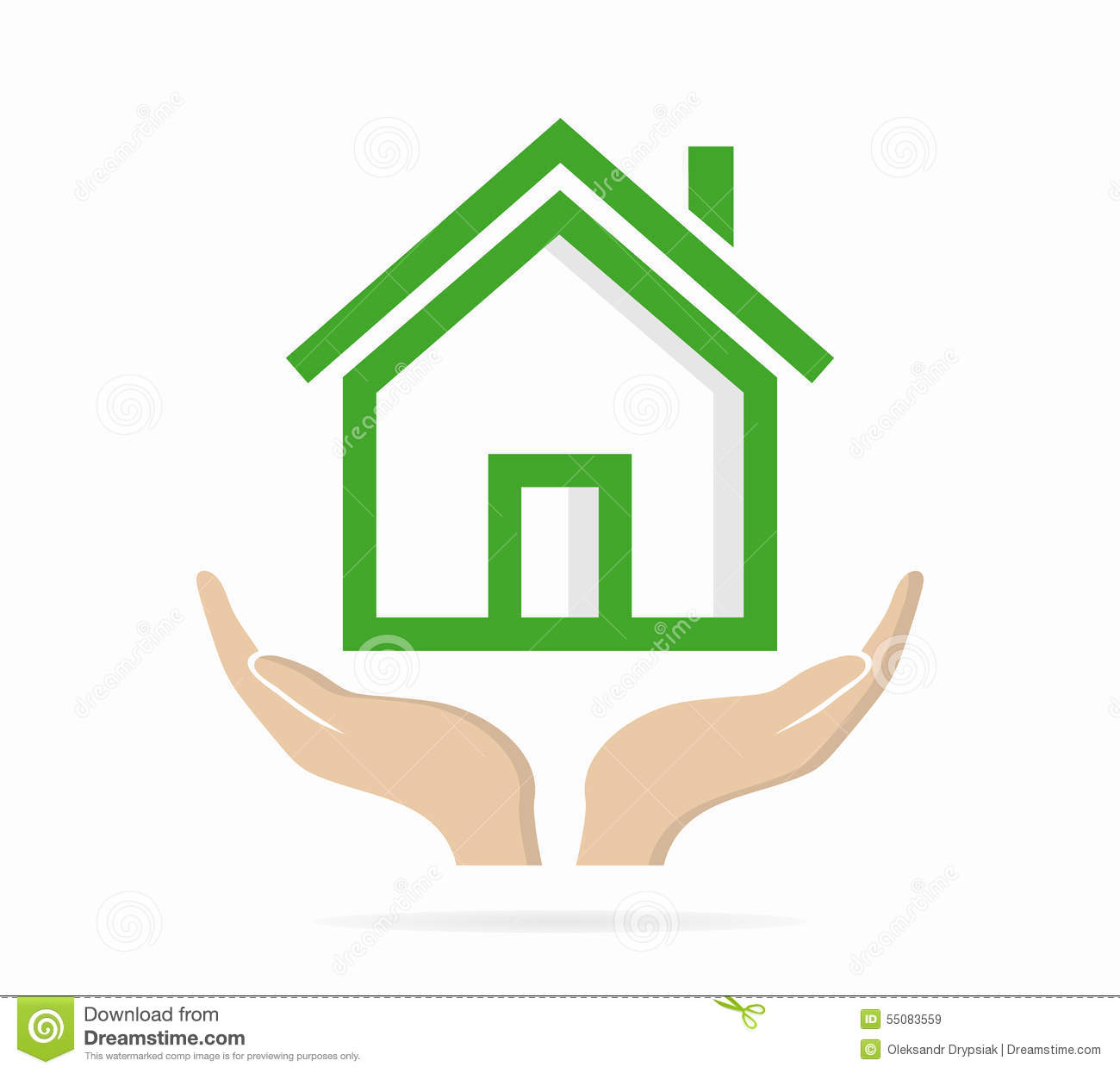 House in hand logo or icon