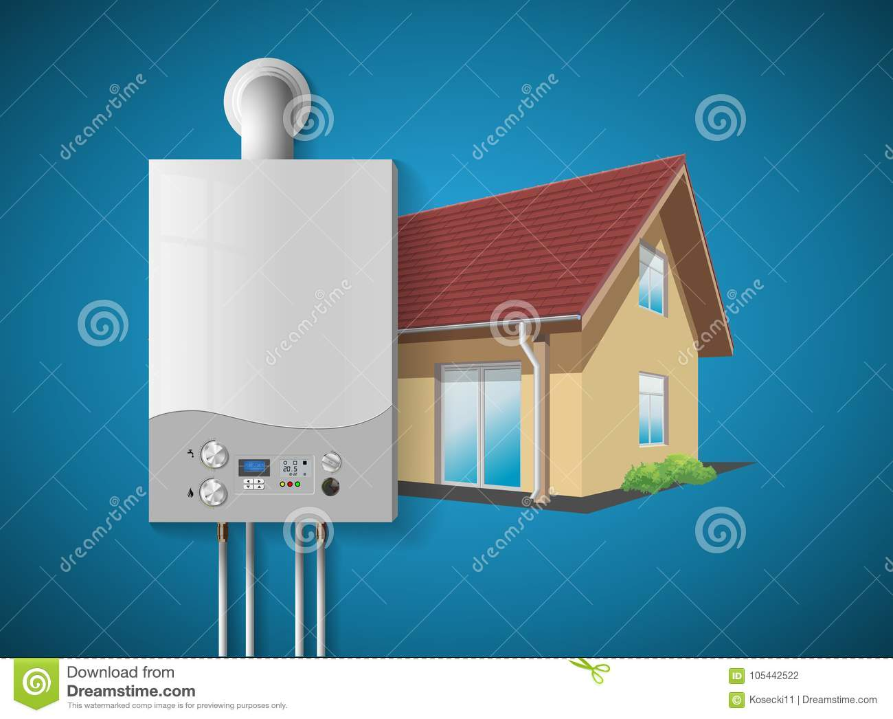 House Heating Concept - Modern Home Gas Fired Boiler - Energy And ...