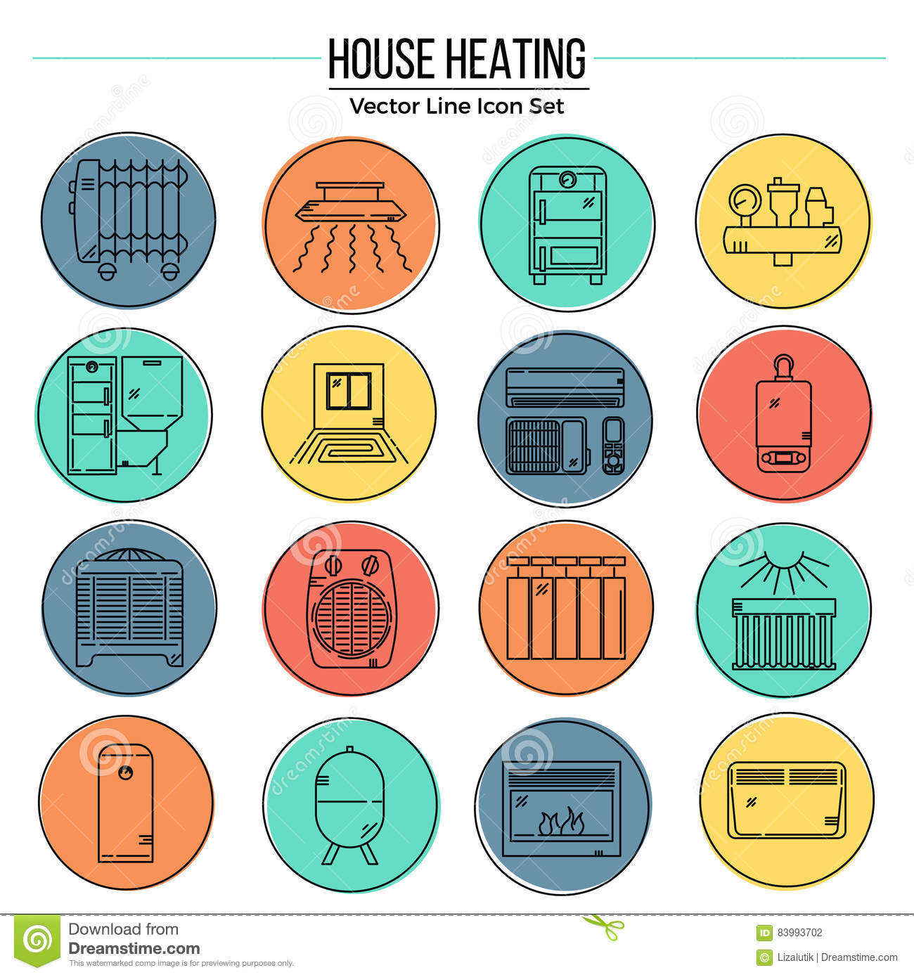 Central cartoons illustrations vector stock images for Heat setting for home