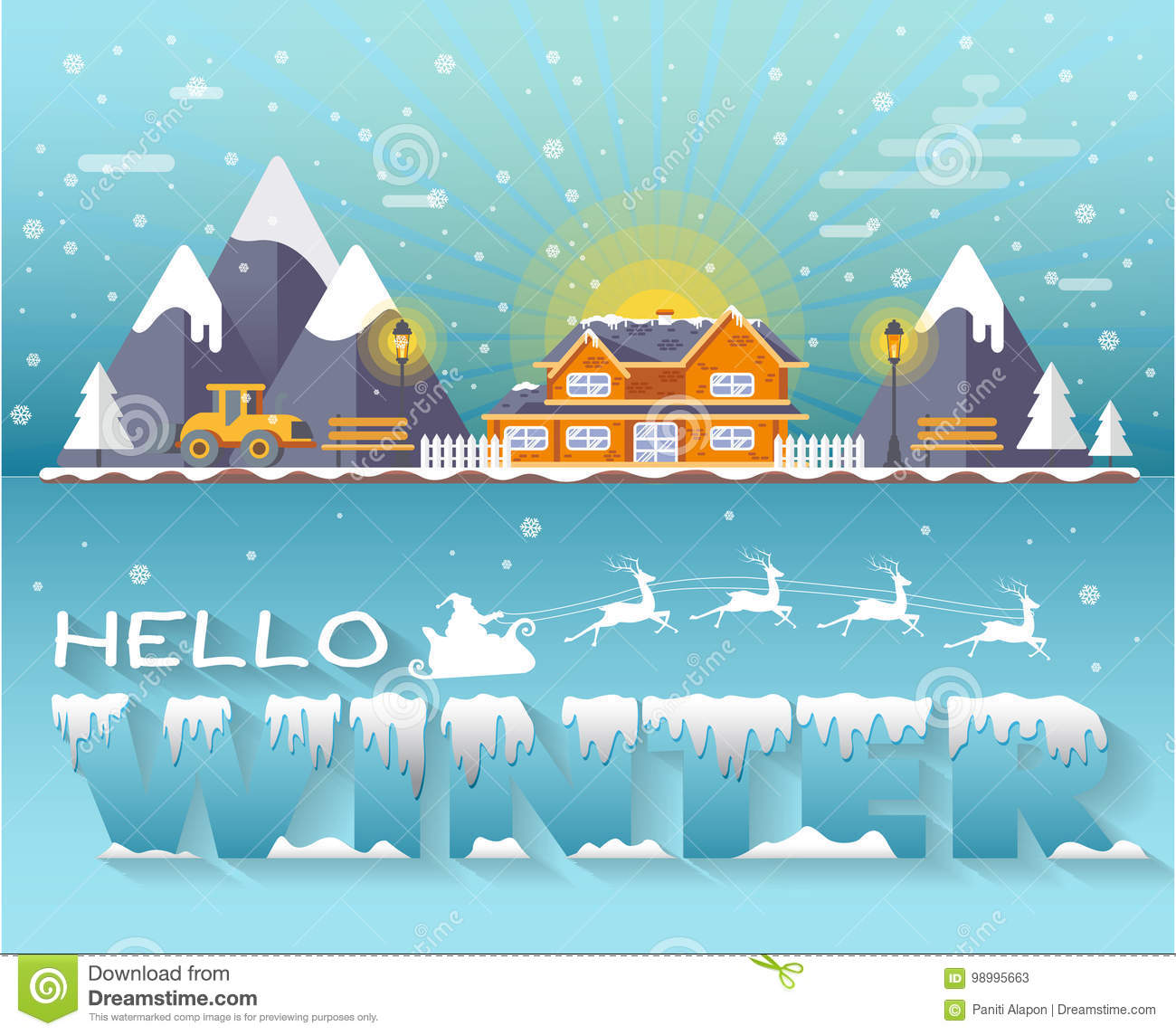 House Hello Winter Text And Emblems For Invitation
