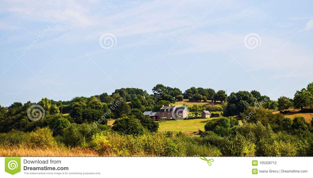 House on a hill in Normandy, France